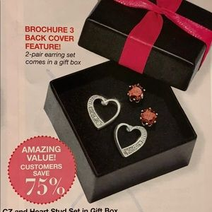 Red CZ and Heart Stud Set in Gift Box